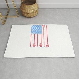 American Flag Lacrosse For Lacrosse Player Rug