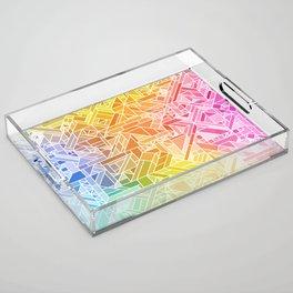 Bright Gradient (Hot Pink Orange Green Yellow Blue) Geometric Pattern Print Acrylic Tray