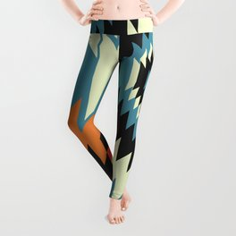 Navajo shapes in orange and blue Leggings