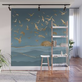 Blueprint and Gold Sea Scape Wall Mural