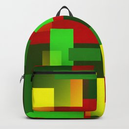 2D pattern greenyellow Backpack