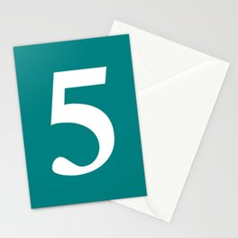 5 (WHITE & TEAL NUMBERS) Stationery Cards