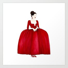 Outlander Claire Fraser Red Dress Not Obedient Quote Watercolor Art Print