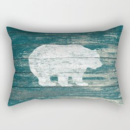 Rustic White Bear on Blue Wood Lodge Art A231b Rectangular Pillow