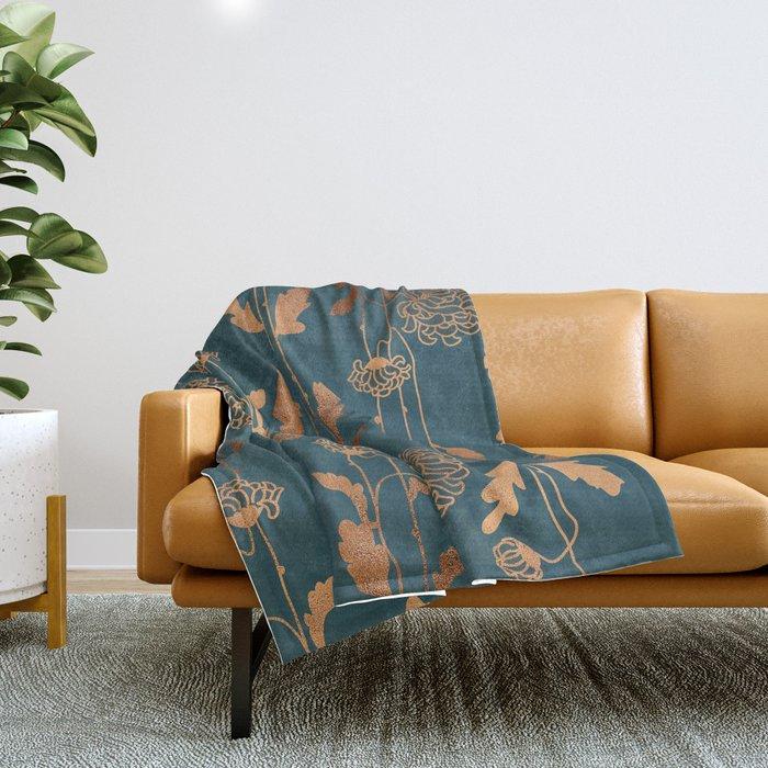 Art Deco Copper Flowers Throw Blanket