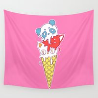 ice cream Wall Tapestries featuring Ice Cream by Freeminds