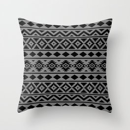 Aztec Essence Ptn III Black on Grey Throw Pillow