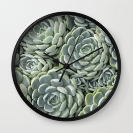 Pale Green Succulent Garden Wall Clock