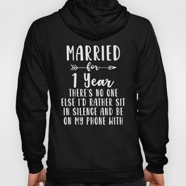 First 1st 1 year Wedding Anniversary Gift Phone Husband Wife print Hoody