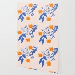 Floral Pattern Indigo Orange Blue Wallpaper