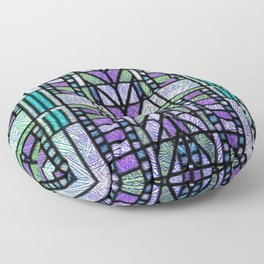 Aqua and Green Art Deco Stained Glass Design Floor Pillow