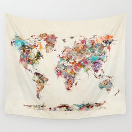 Abstract wall tapestries society6 world map watercolor deux wall tapestry sciox Images