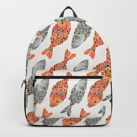 Indonesian Fish Duo – Grey & Orange Palette Backpack