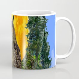 OWL WITH FULL MOON & TREES NATURE BLUE DESIGN Coffee Mug
