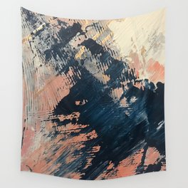 Hidden Gem [3]: an abstract mixed media piece in pink, blue, gold and white Wall Tapestry