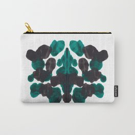 Dark Turquoise Green & Black Ink Blot Pattern Carry-All Pouch