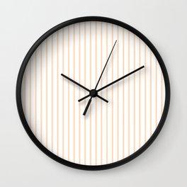 Soft Peach Pinstripe on White Wall Clock