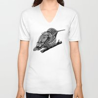 hummingbird V-neck T-shirts featuring Hummingbird by BIOWORKZ
