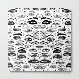All Eyez on Me- Black and White Ink Drawing Metal Print