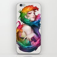 rainbow iPhone & iPod Skins featuring Angel of Colors by Artgerm™