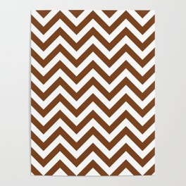 Chocolate Brown Chevrons Pattern Poster