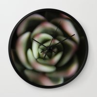 succulent Wall Clocks featuring Succulent by Claire of the Cosmos