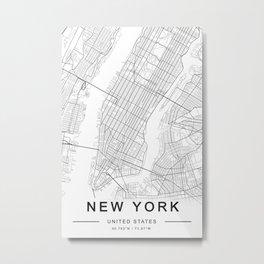 New York Map, Manhattan, USA City Map Metal Print