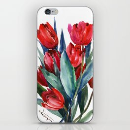 Red Tulips Floral Red,Turquoise Blue Artwork, garden tulips tulip lover design iPhone Skin