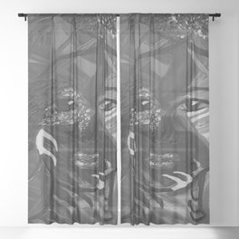 Flying Nature by Lu, black-and-white Sheer Curtain