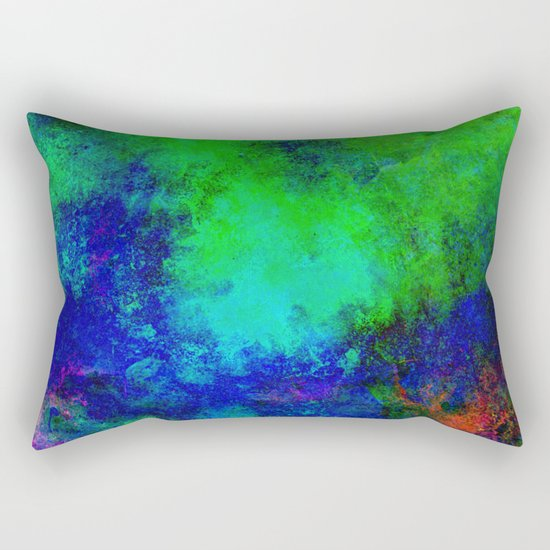 Awaken - Blue, green, abstract, textured painting Rectangular Pillow