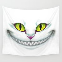 cheshire cat Wall Tapestries featuring Cheshire  by Alice Of Wonderland