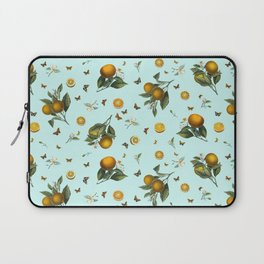 Oranges and Butterflies on Mint Laptop Sleeve