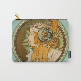 """Alphonse Mucha """"Byzantine Head: The Blonde"""" edited Carry-All Pouch"""
