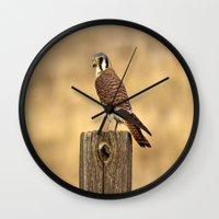predator Wall Clocks featuring Predator by Ian Bevington