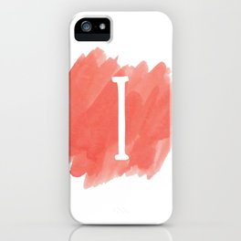 Letter I Coral Watercolor iPhone Case