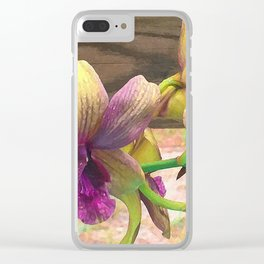 The orchids are blooming. Clear iPhone Case