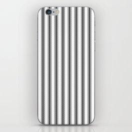 Black and White English Rose Trellis in Mattress Ticking Stripe iPhone Skin