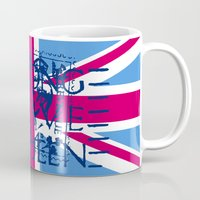 british flag Mugs featuring British Flag in Pink by GraphicDivine