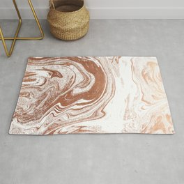 Marble copper metallic suminagashi spilled ink japanese marbling abstract ocean swirl Rug