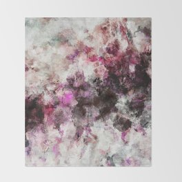 Modern Abstract Painting in Purple and Pink Tones Throw Blanket