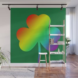 Rainbow Shamrock St Patricks Day Gift Wall Mural