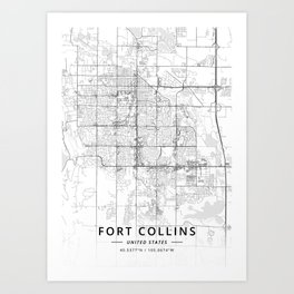 Fort Collins, United States - Light Map Art Print