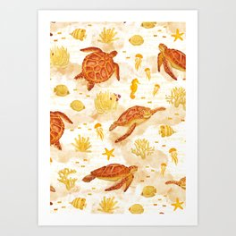 Hawksbill Sea Turtles Art Print