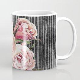 Watercolor Flowers on Dark Burned Wood Coffee Mug