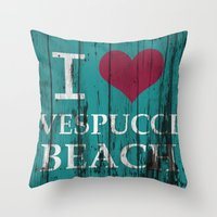 grand theft auto Throw Pillows featuring Los Santos I love Vespucci Beach Grand Theft Auto by KeenaKorn