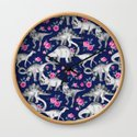 Dinosaurs and Roses on Dark Blue Purple by micklyn