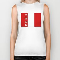 peru Biker Tanks featuring flag of Peru by tony tudor