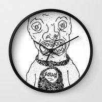 satan Wall Clocks featuring Satan by SECRET EYE