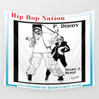 hip hop Wall Tapestries featuring HIP HOP NATION by KEVIN CURTIS BARR'S ART OF FAMOUS FACES