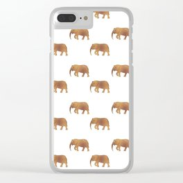 Golden elephants on a white background . illustration pattern . Clear iPhone Case
